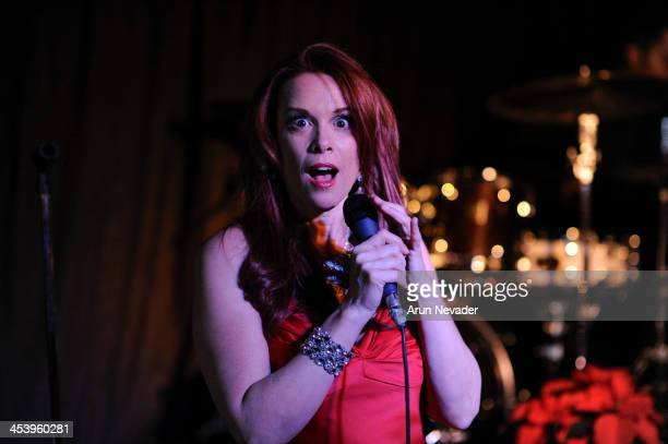 Actor/singer Chase Masterson performs during the A Swingin' Christmas concert at the Indie Hotspot on December 5 2013 in Altadena California