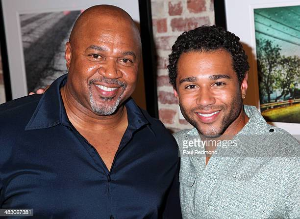 Actor/singer Corbin Bleu with his father David Reivers attending the Jennie Garth Awake opening night artist reception at Project Gallery on April 5...