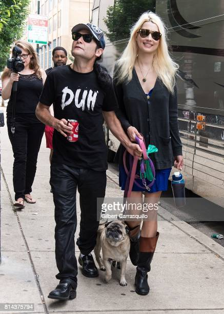Actor/singer Corey Feldman and wife model Courtney Anne Feldman are seen walking their dogs Chewy and Brownie on July 13 2017 in Philadelphia...