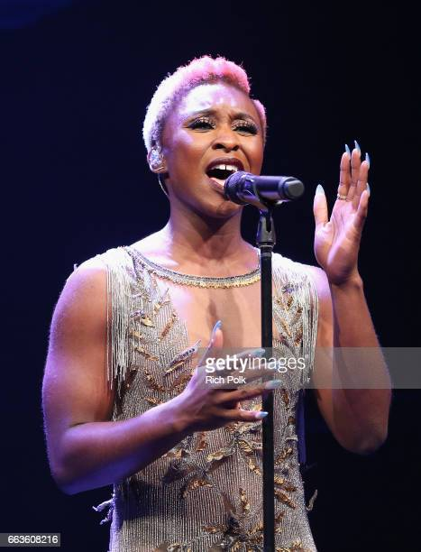 Actor/singer Cynthia Erivo performs a moving tribute to the LGBTQ community and the Orlando Pulse victims onstage at the 28th Annual GLAAD Media...