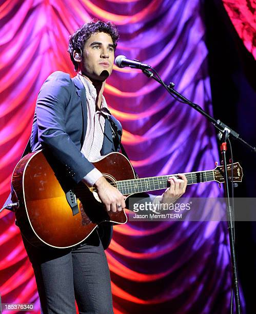 Actor/singer Darren Criss performs onstage during the 23rd Annual Environmental Media Awards presented by Toyota and Lexus at Warner Bros Studios on...
