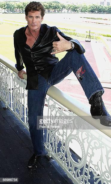 Actor/singer David Hasselhoff attends Foxtel's 10th Birthday celebrations at Randwick Racecourse on October 23 2005 in Sydney Australia