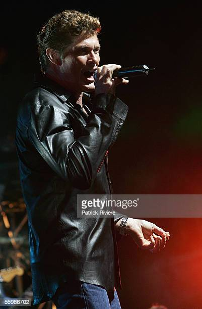Actor/singer David Hasselhoff performs at Foxtel's 10th Birthday celebrations at Randwick Racecourse on October 23 2005 in Sydney Australia