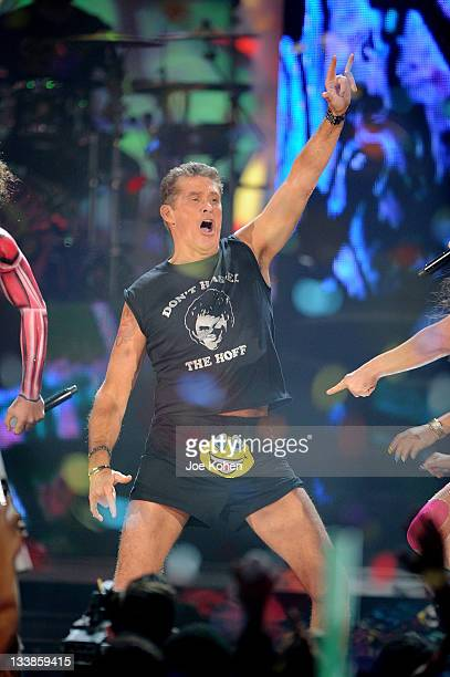 Actor/singer David Hasselhoff performs with LMFAO onstage at the 2011 American Music Awards at Nokia Theatre LA Live on November 20 2011 in Los...