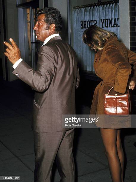 Actor/Singer Dean Martin and Catherine Hawn on March 22 1970 leaving the Candy Store in Beverly Hills California