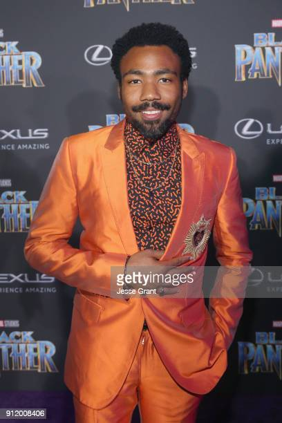 Actor/singer Donald Glover at the Los Angeles World Premiere of Marvel Studios' BLACK PANTHER at Dolby Theatre on January 29, 2018 in Hollywood,...