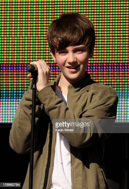 Actor/singer Greyson Chance performs onstage during Variety's 5th annual Power Of Youth event presented by The Hub at Paramount Studios on October 22...
