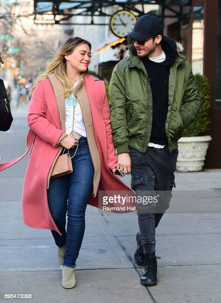 Actor/Singer Hilary Duff and Matthew Koma are seen walking in Soho on December 19 2017 in New York City