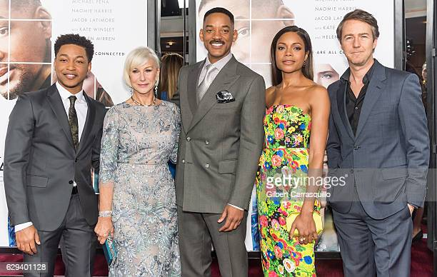 Actor/singer Jacob Latimore actors Dame Helen Mirren Will Smith Naomie Harris and Edward Norton attend 'Collateral Beauty' World Premiere at...