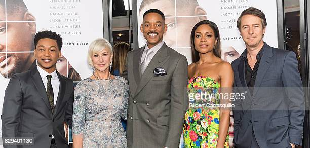 Actor/singer Jacob Latimore, actors Dame Helen Mirren, Will Smith, Naomie Harris and Edward Norton attend 'Collateral Beauty' World Premiere at...