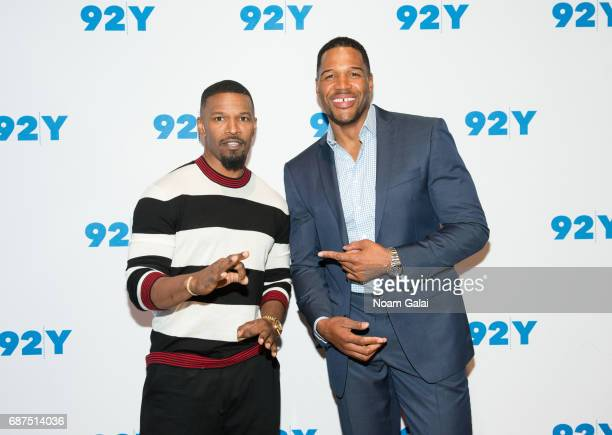 Actor/singer Jamie Foxx and TV Personality Michael Strahan visit 92nd Street Y to discuss 'Beat Shazam' at Kaufman Concert Hall on May 23 2017 in New...