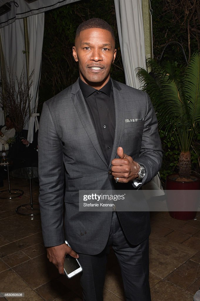 Actor/singer Jamie Foxx attends the Warner Music Group annual Grammy celebration at Chateau Marmont on February 8, 2015 in Los Angeles, California.