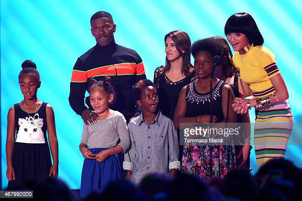 Actor/singer Jamie Foxx guests and actress Zendaya speak onstage during the Nickelodeon's 28th Annual Kids' Choice Awards held at The Forum on March...