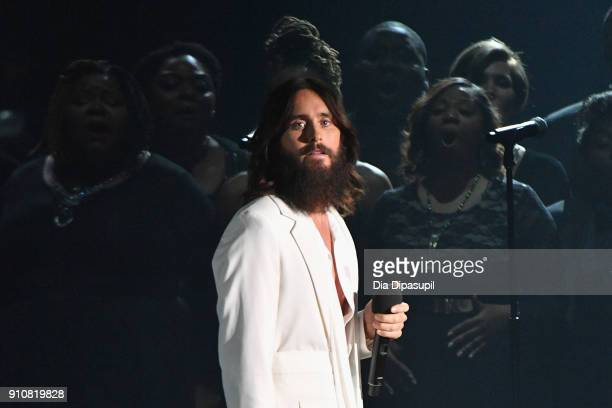 Actor/singer Jared Leto performs onstage during MusiCares Person of the Year honoring Fleetwood Mac at Radio City Music Hall on January 26 2018 in...