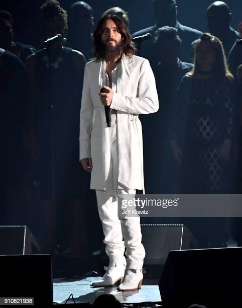 Actorsinger Jared Leto performs onstage during MusiCares Person of the Year honoring Fleetwood Mac at Radio City Music Hall on January 26 2018 in New...