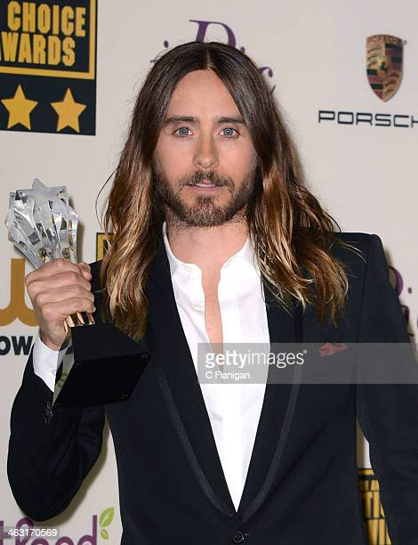 Actor/Singer Jared Leto poses in the press room during the 19th Annual Critics' Choice Movie Awards at Barker Hangar on January 16 2014 in Santa...