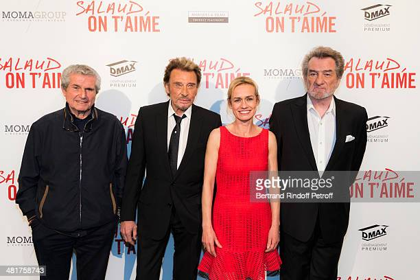 Actor/singer Johnny Hallyday director Claude Lelouch actress Sandrine Bonnaire and actor/singer Eddy Mitchell pose during the premiere of 'Salaud on...