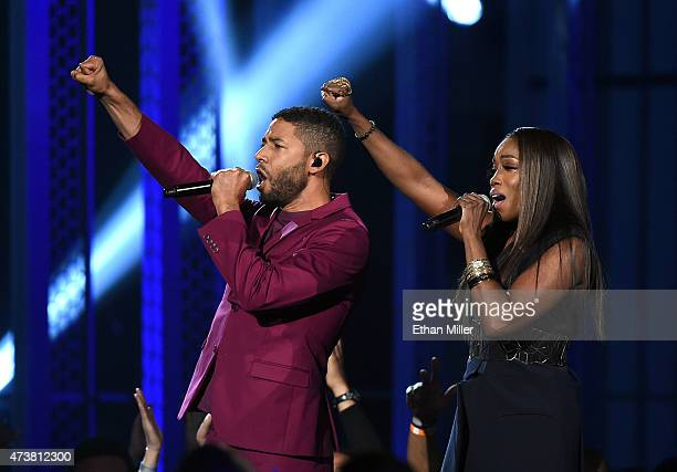 Actor/singer Jussie Smollett and recording artist Estelle perform onstage during the 2015 Billboard Music Awards at MGM Grand Garden Arena on May 17...