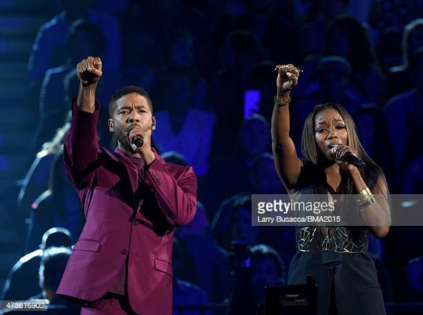 Actor/singer Jussie Smollett and recording artist Estelle perform onstage during the 2015 Billboard Music Awards at MGM Grand Garden Arena on May 17,...