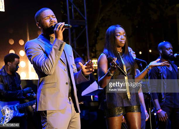 Actor/singer Jussie Smollett and singer Estelle perform at the Television Academy event for Fox Tv's 'Empire' A Performance Under The Stars at The...