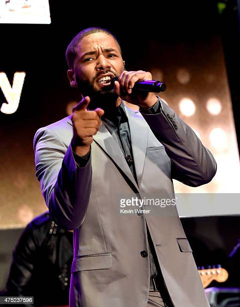 Actor/singer Jussie Smollett performs at the Television Academy event for Fox Tv's Empire A Performance Under The Stars at The Grove on May 28 2015...