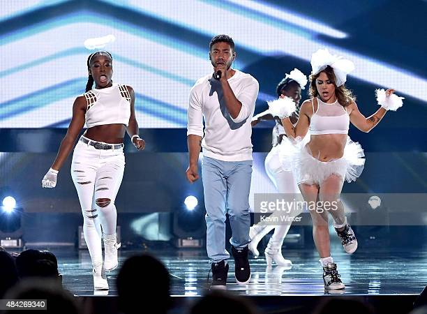 Actor/singer Jussie Smollett performs onstage during the Teen Choice Awards 2015 at the USC Galen Center on August 16 2015 in Los Angeles California