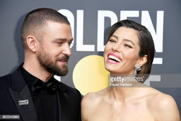 Actor/singer Justin Timberlake and actor Jessica Biel attend The 75th Annual Golden Globe Awards at The Beverly Hilton Hotel on January 7 2018 in...