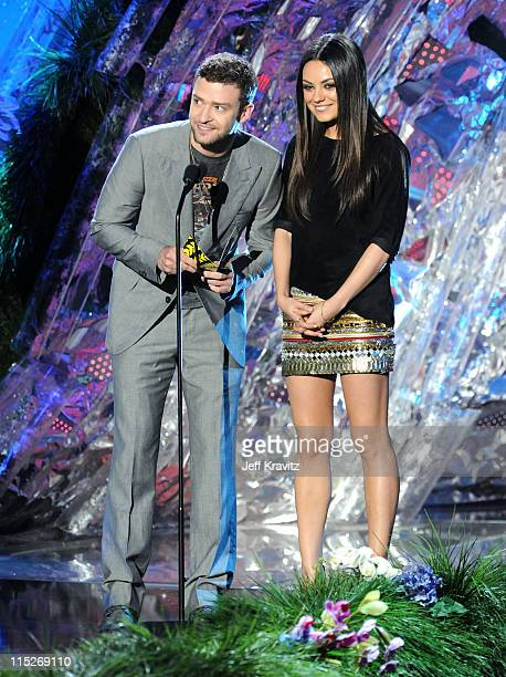 Actor/singer Justin Timberlake and actress Mila Kunis speak onstage during the 2011 MTV Movie Awards at Universal Studios' Gibson Amphitheatre on...