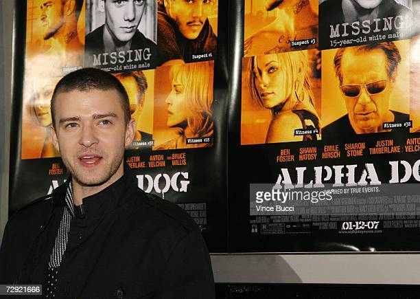 Actor/singer Justin Timberlake attends the premiere of the Universal Pictures' film Alpha Dog on January 3 2007 at the Arclight Theatres in Hollywood...