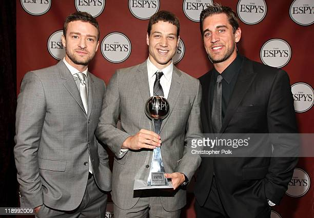 Actor/singer Justin Timberlake ESPY Best Male College Athlete Award winner NBA player Jimmer Fredette and NFL quarterback Aaron Rodgers attend The...