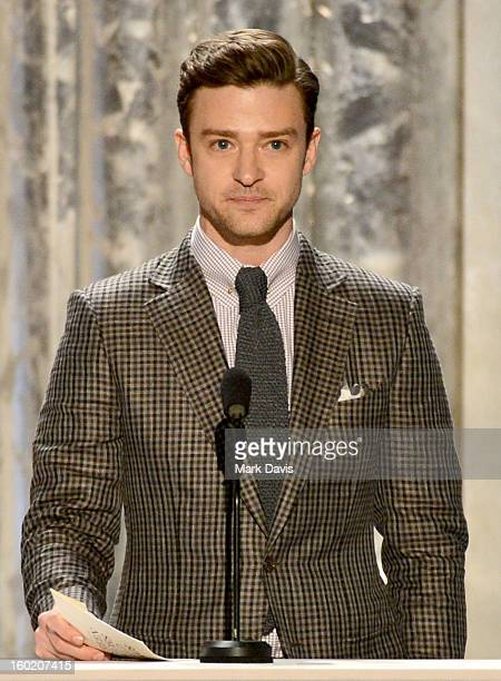 Actor/singer Justin Timberlake speaks onstage during the 19th Annual Screen Actors Guild Awards held at The Shrine Auditorium on January 27 2013 in...