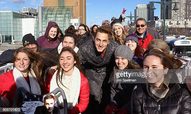 Actor/singer Kendall Schmidt poses with fans at the Kendall Schmidt Ride Of Fame induction ceremony at Pier 78 on January 19 2016 in New York City
