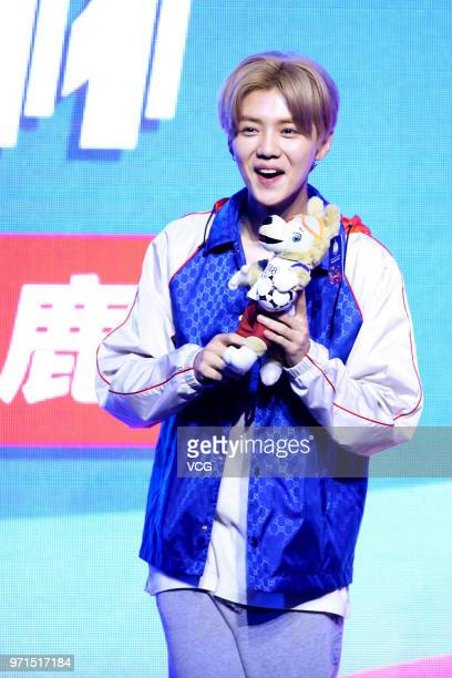 Actor/singer Lu Han attends Youkucom which has 2018 FIFA World Cup broadcasting rights in China press conference on June 10 2018 in Beijing China