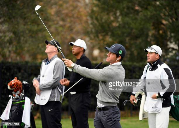 Actor/singer Mark Wahlberg plays a tee shot on the sixth hole during the ProAm round for the Genesis Open at Riviera Country Club on February 14 2018...