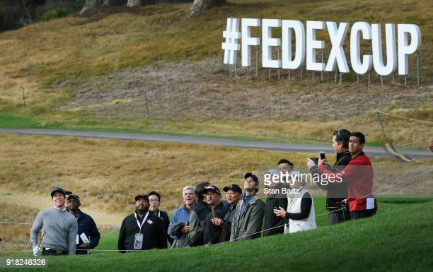 Actor/singer Mark Wahlberg watches his third shot on the ninth hole during the ProAm round for the Genesis Open at Riviera Country Club on February...