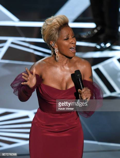 Actor/singer Mary J Blige performs onstage during the 90th Annual Academy Awards at the Dolby Theatre at Hollywood Highland Center on March 4 2018 in...