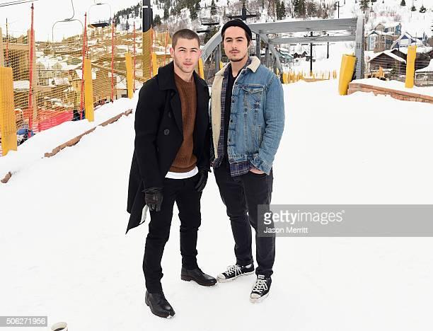 Actorsinger Nick Jonas and actor Ben Schnetzer are seen at the Sundance Film Festival on January 22 2016 in Park City Utah