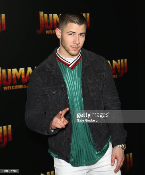 Actor/singer Nick Jonas attends a photo call for Columbia Pictures' Jumanji Welcome to the Jungle during CinemaCon at Caesars Palace on March 27 2017...