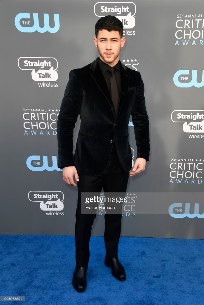 Actor/singer Nick Jonas attends The 23rd Annual Critics' Choice Awards at Barker Hangar on January 11, 2018 in Santa Monica, California.