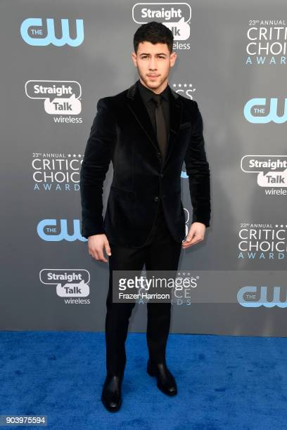 Actor/singer Nick Jonas attends The 23rd Annual Critics' Choice Awards at Barker Hangar on January 11 2018 in Santa Monica California
