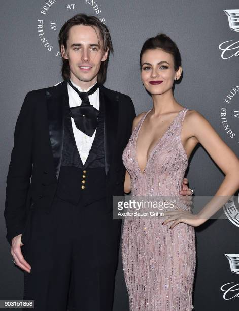 Actor/singer Reeve Carney and actress Victoria Justice arrive at The Art of Elysium's 11th Annual Celebration Heaven at Barker Hangar on January 6...