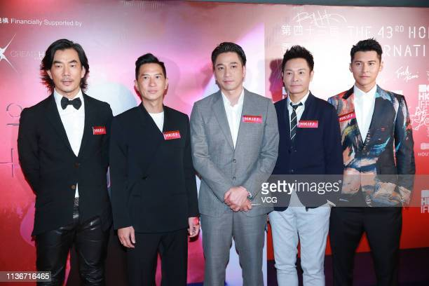 Actor/singer Richie Jen Hsienchi actor Nick Cheung Kafai actor Ron Ng Cheukhei actor Roger Kwok Chunon and actor Carlos Chan attend the opening...