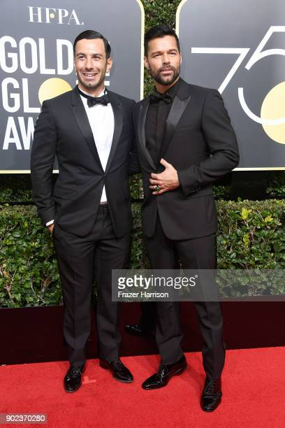 Actor/singer Ricky Martin and Jwan Yosef attend The 75th Annual Golden Globe Awards at The Beverly Hilton Hotel on January 7 2018 in Beverly Hills...