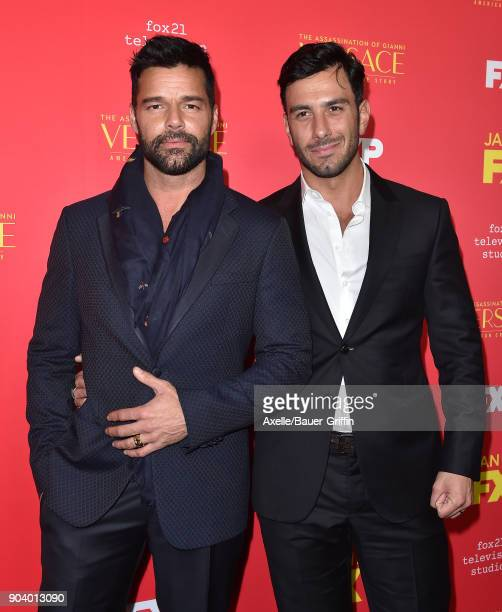 Actor/singer Ricky Martin and Jwan Yosef attend the Los Angeles Premiere of 'The Assassination of Gianni Versace American Crime Story' at ArcLight...