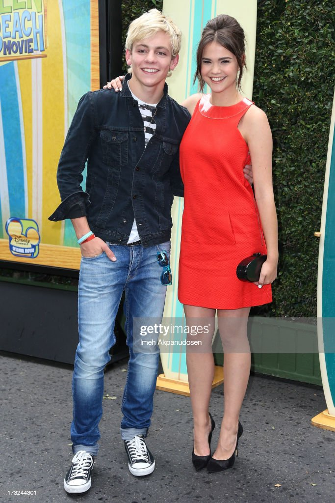 Actor/singer Ross Lynch (L) and actress Maia Mitchell attend the cast of 'Teen Beach Movie' reunion for movie night at Walt Disney Studios on July 10, 2013 in Burbank, California.