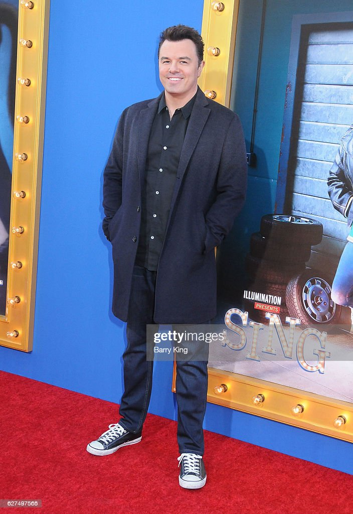 Actor/singer Seth MacFarlane attends the premiere of Universal Pictures' 'Sing' at Microsoft Theater on December 3, 2016 in Los Angeles, California.