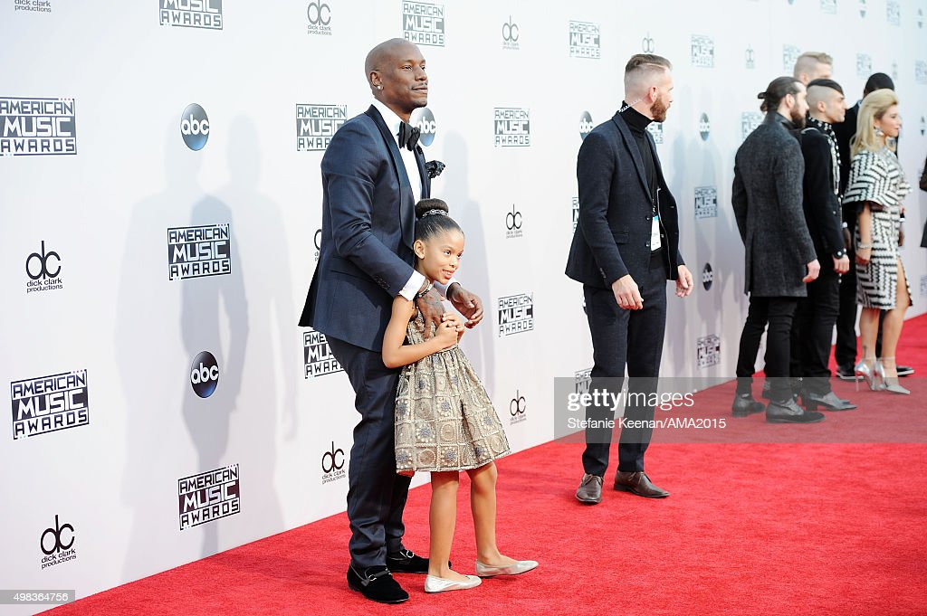 Actor/singer Tyrese Gibson (R) and Shayla Somer Gibson attend the 2015 American Music Awards at Microsoft Theater on November 22, 2015 in Los Angeles, California.