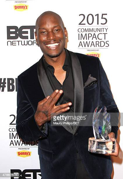 Actor/singer Tyrese Gibson attends the 2015 Community Impact Awards presented by Dennys during the 2015 BET Experience at the Conga Room on June 27...
