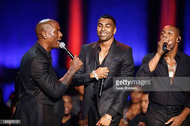 Actor/singer Tyrese Gibson singer/songwriter Ginuwine and singer/songwriter Tank perform during the Soul Train Awards 2012 at PH Live at Planet...