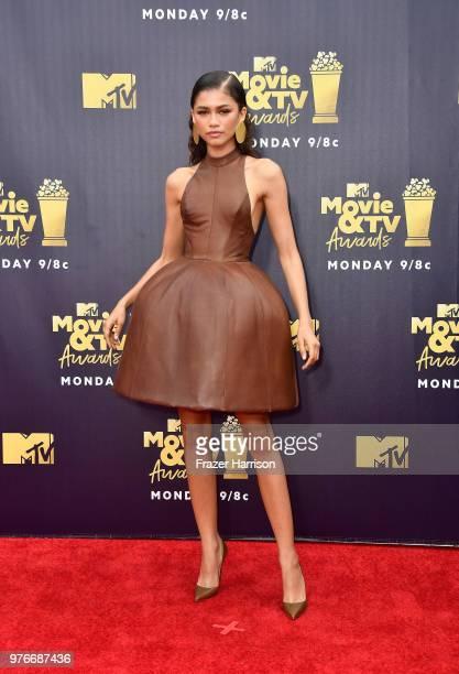 Actor/singer Zendaya attends the 2018 MTV Movie And TV Awards at Barker Hangar on June 16 2018 in Santa Monica California